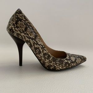 Dollhouse Snakeskin Print Pumps